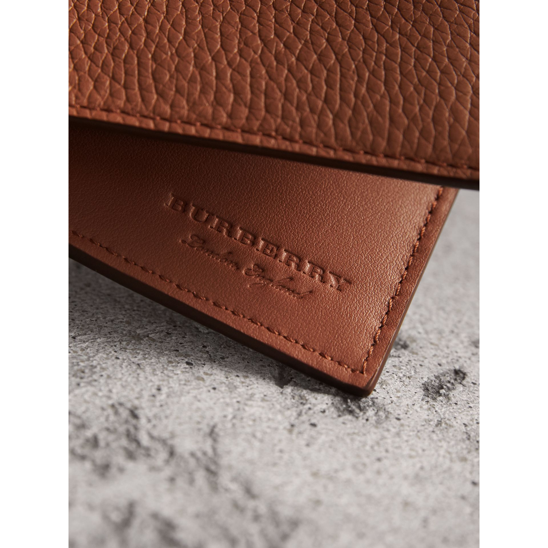 Embossed Leather Bifold Wallet in Chestnut Brown - Men | Burberry Singapore - gallery image 2