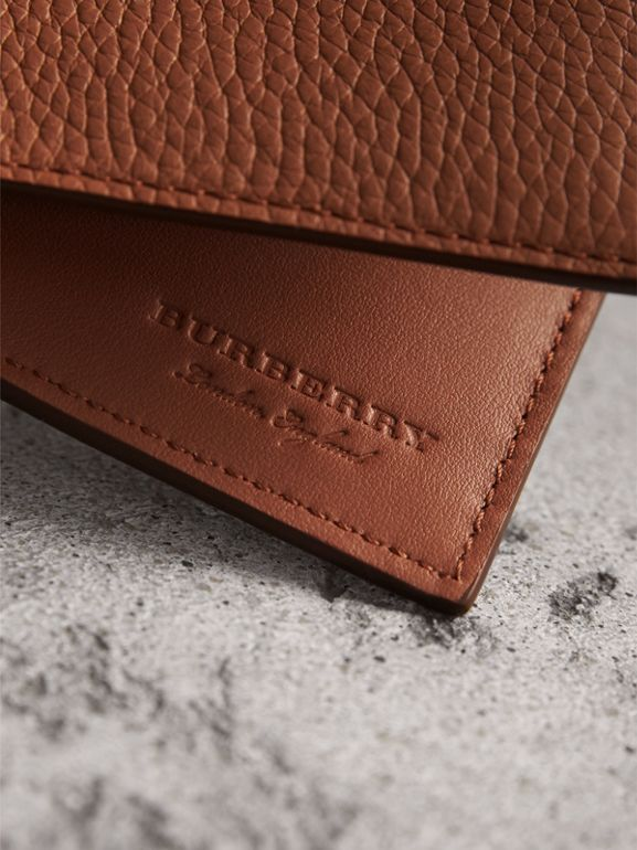 Embossed Leather Bifold Wallet in Chestnut Brown - Men | Burberry - cell image 1
