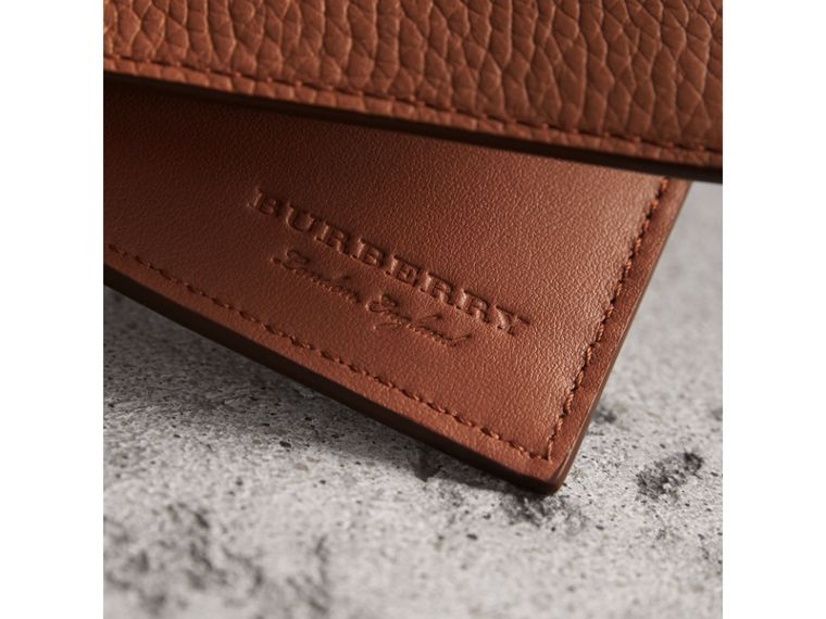 Embossed Leather Bifold Wallet in Chestnut Brown - Men | Burberry Singapore - cell image 1