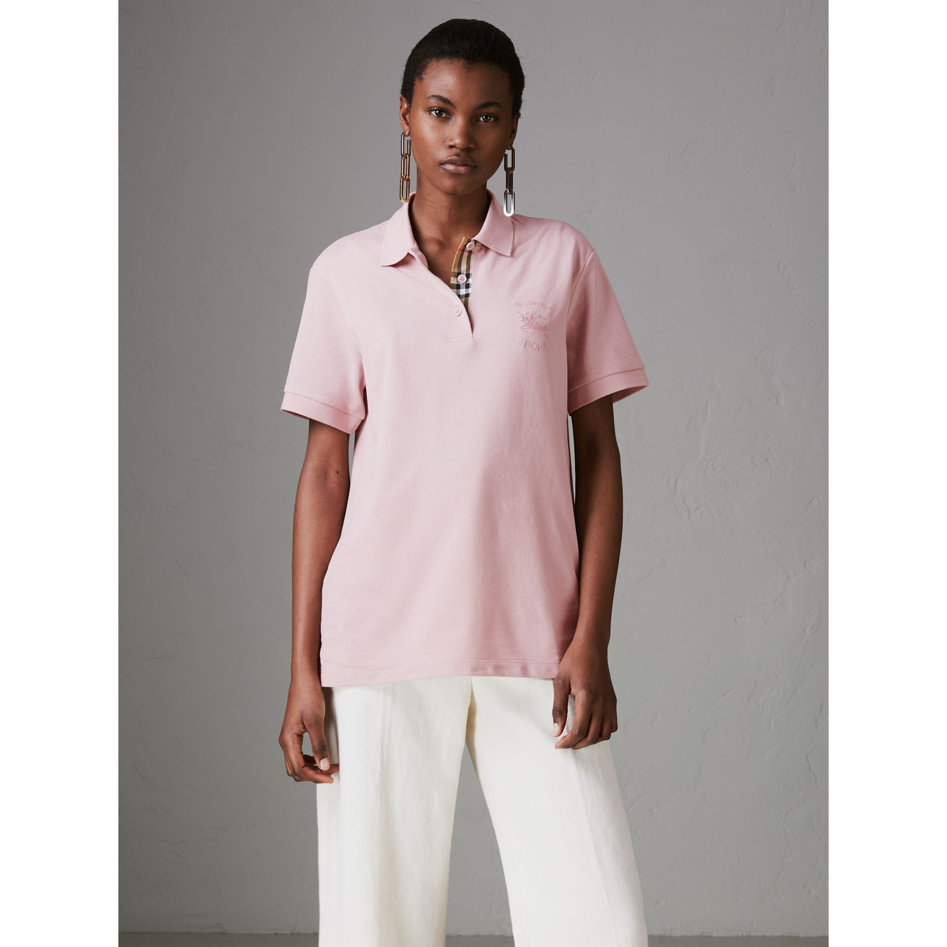 Check Placket Cotton Piqué Polo Shirt in Chalk Pink - Women | Burberry - gallery image 4