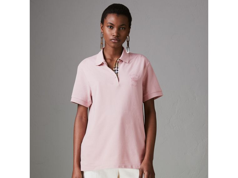 Check Placket Cotton Piqué Polo Shirt in Chalk Pink - Women | Burberry Singapore - cell image 4
