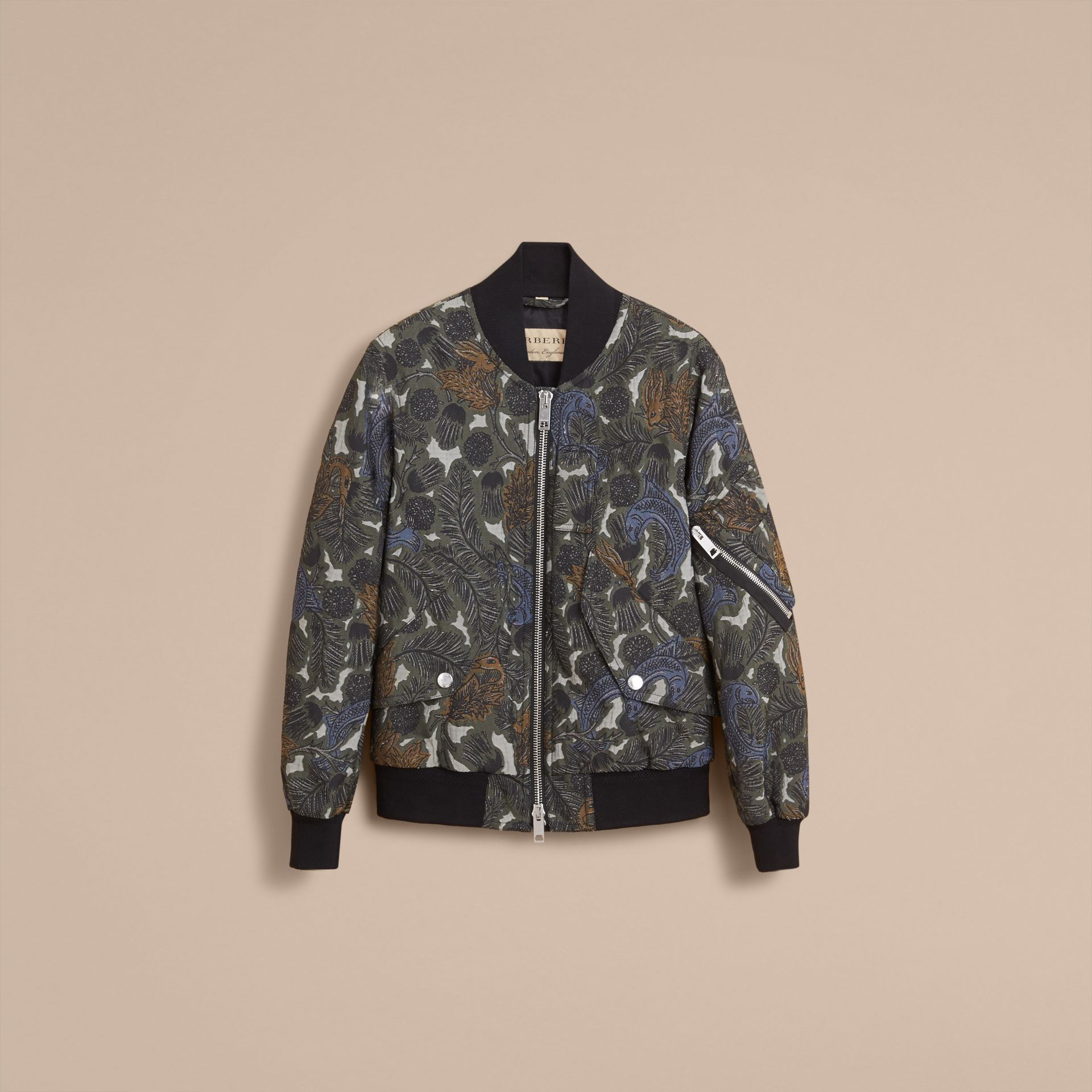 Beasts Print Lightweight Bomber Jacket in Sage Green - Men | Burberry - gallery image 4
