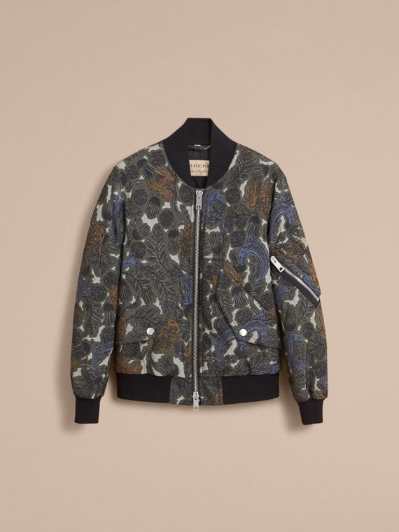Beasts Print Lightweight Bomber Jacket in Sage Green - Men | Burberry - cell image 3