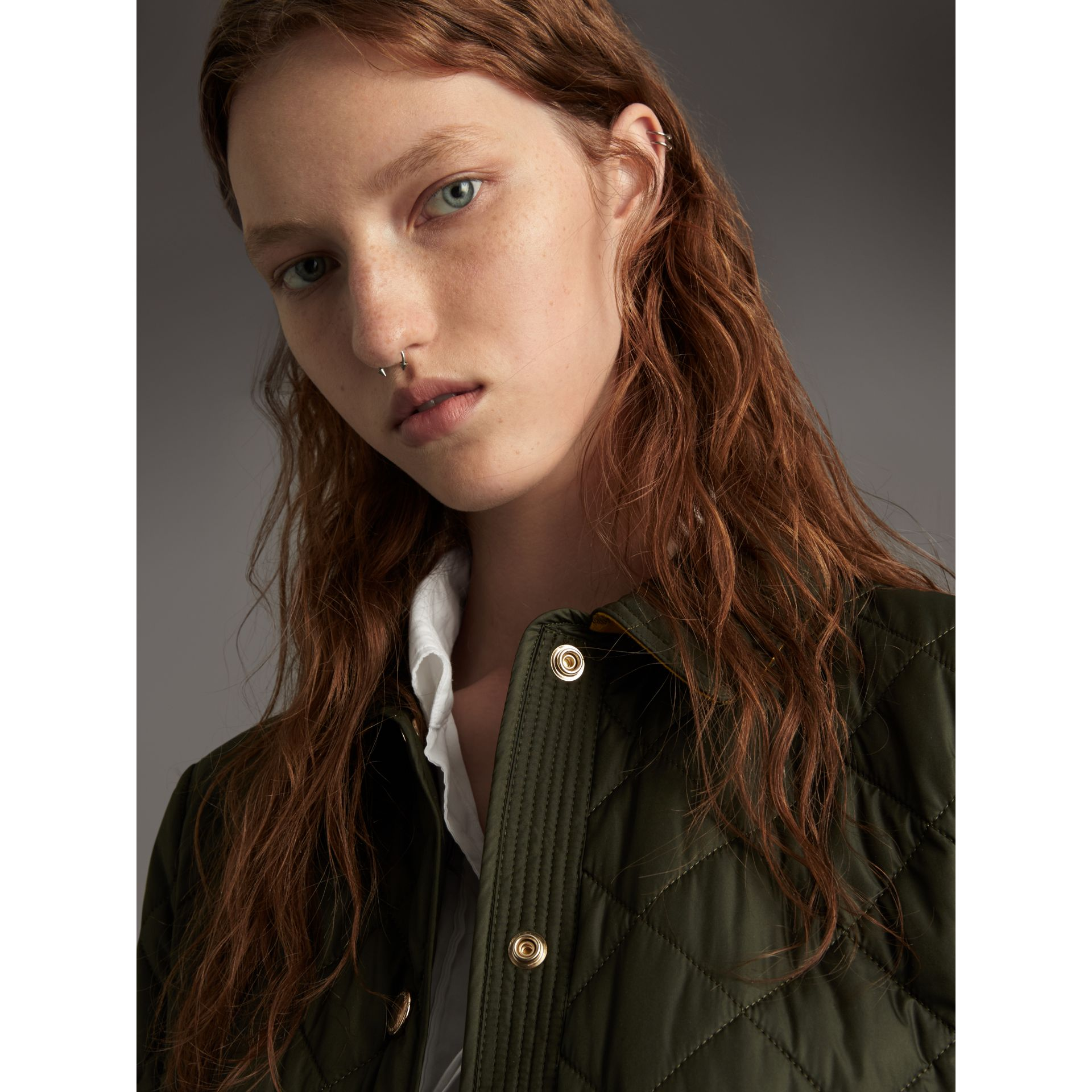 Check Detail Diamond Quilted Jacket in Military Green - Women | Burberry Canada - gallery image 5