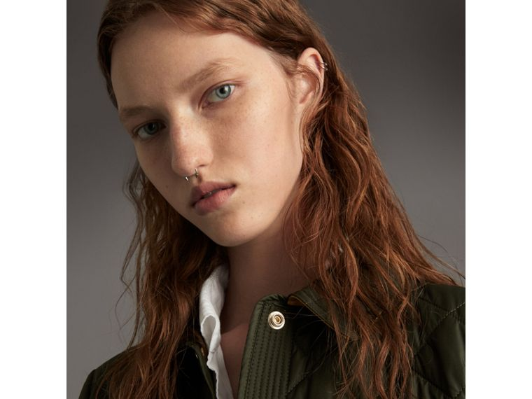 Check Detail Diamond Quilted Jacket in Military Green - Women | Burberry - cell image 4