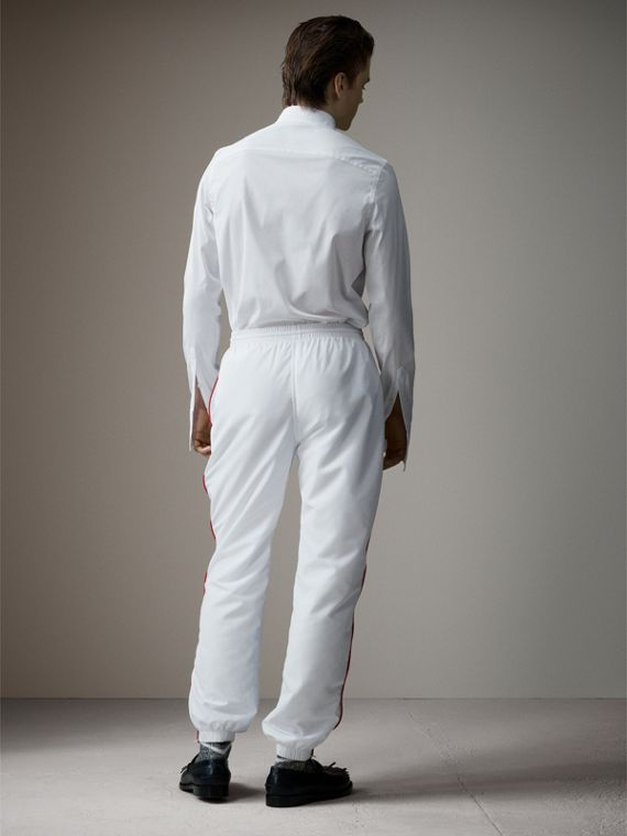 Poplin Track Pants with Contrast Piping in White - Men | Burberry Singapore - cell image 2