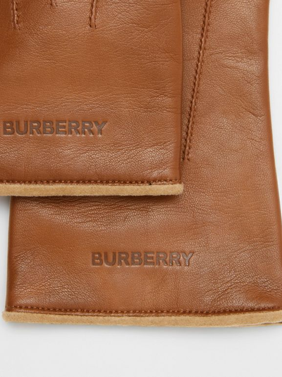 Embossed Logo Cashmere-lined Lambskin Gloves in Brown | Burberry - cell image 1