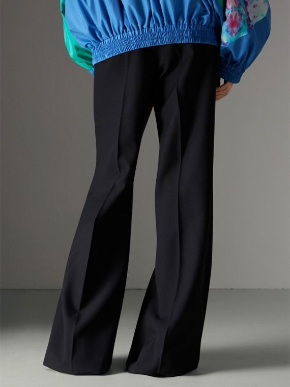Flared Tailored Trousers in Dark Navy - Women | Burberry - cell image 2