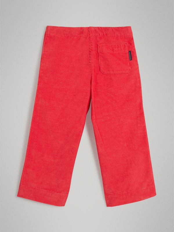 Corduroy Wide-leg Trousers in Bright Orange Red - Girl | Burberry United States - cell image 3