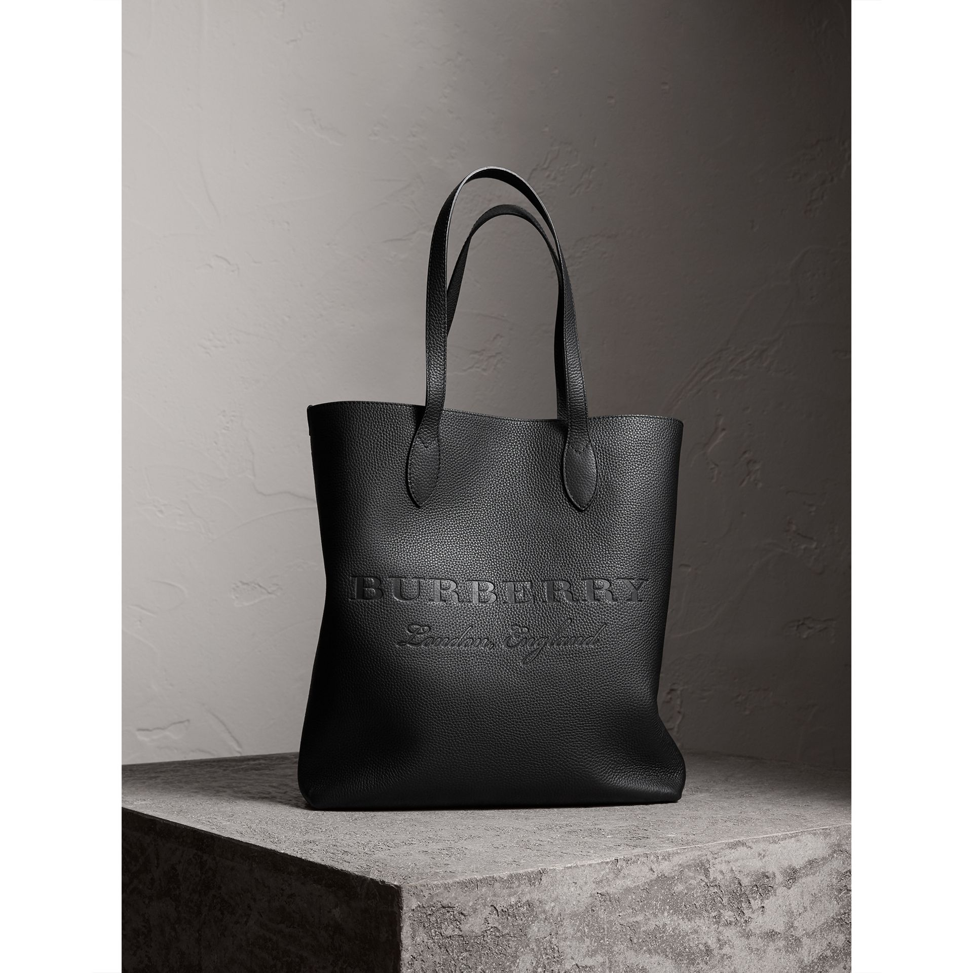 Medium Embossed Leather Tote in Black | Burberry - gallery image 1