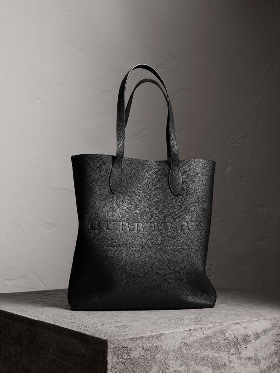 Medium Embossed Leather Tote Bag in Black | Burberry