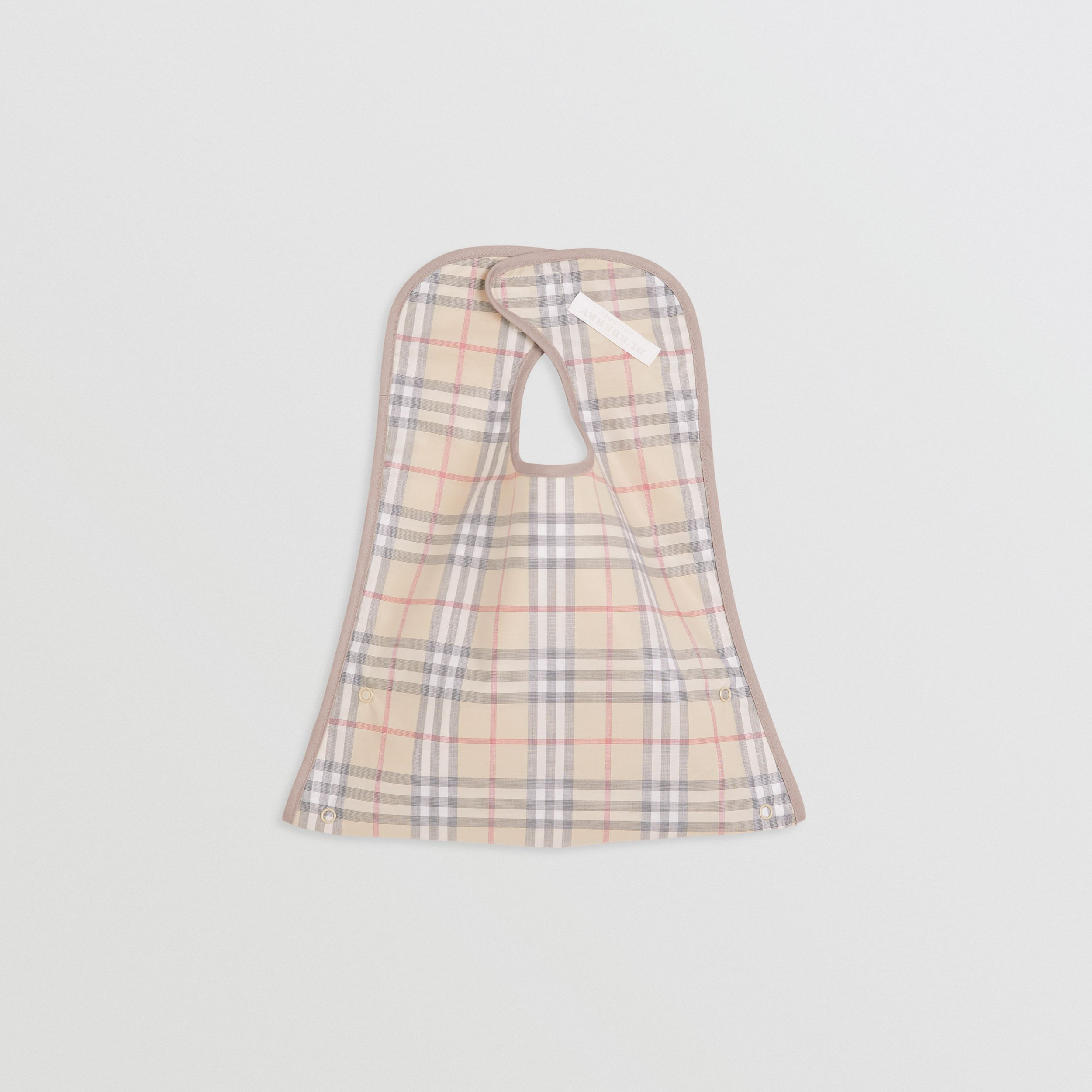 Coated Check Cotton Baby Bib in Pale Stone - Children | Burberry - 3