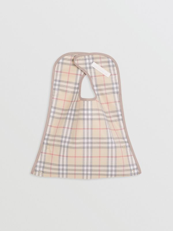 Coated Check Cotton Baby Bib in Pale Stone - Children | Burberry - cell image 2