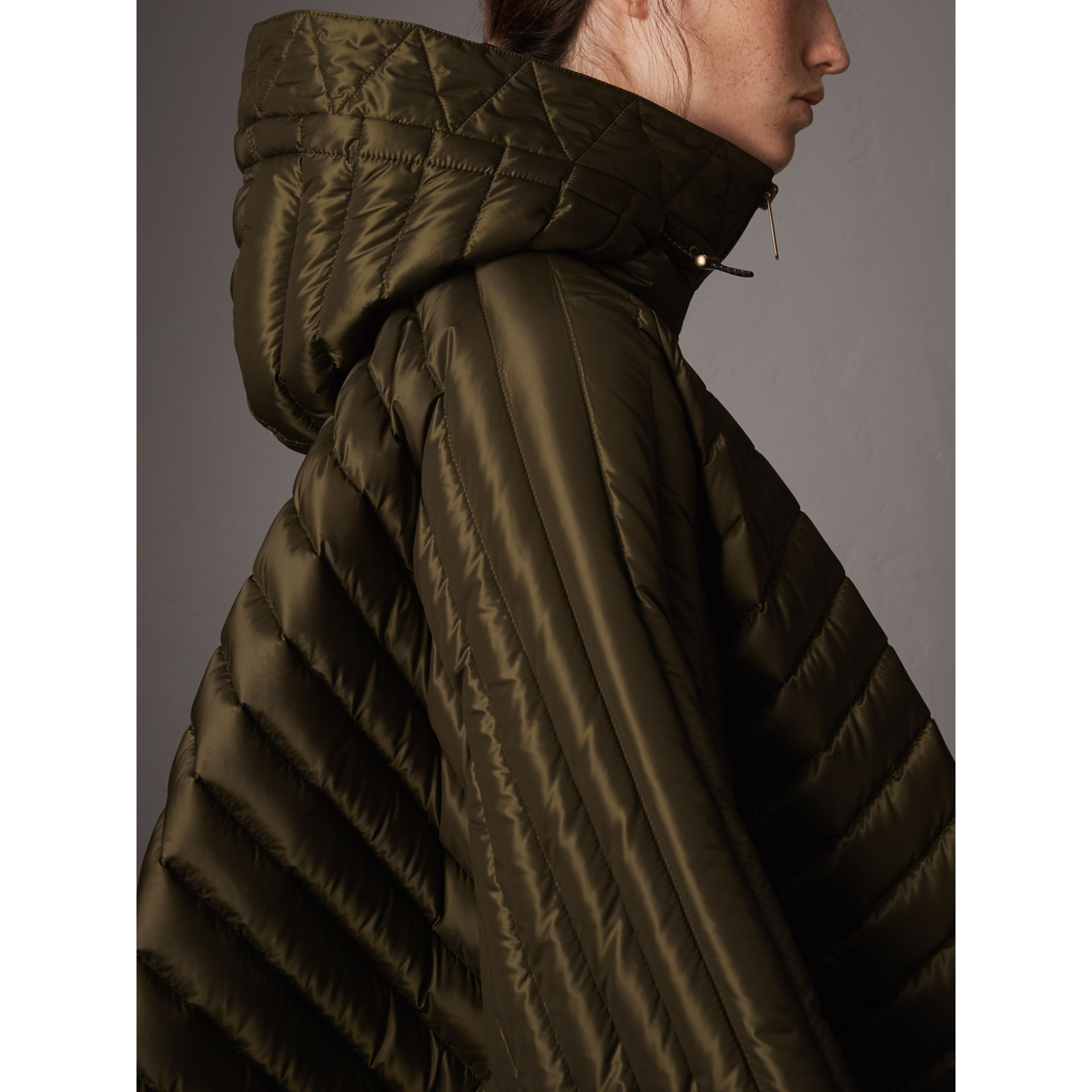 Down-filled Hooded Cape in Olive - Women | Burberry - gallery image 2