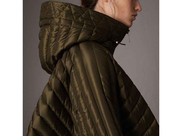 Down-filled Hooded Cape in Olive - Women | Burberry - cell image 1