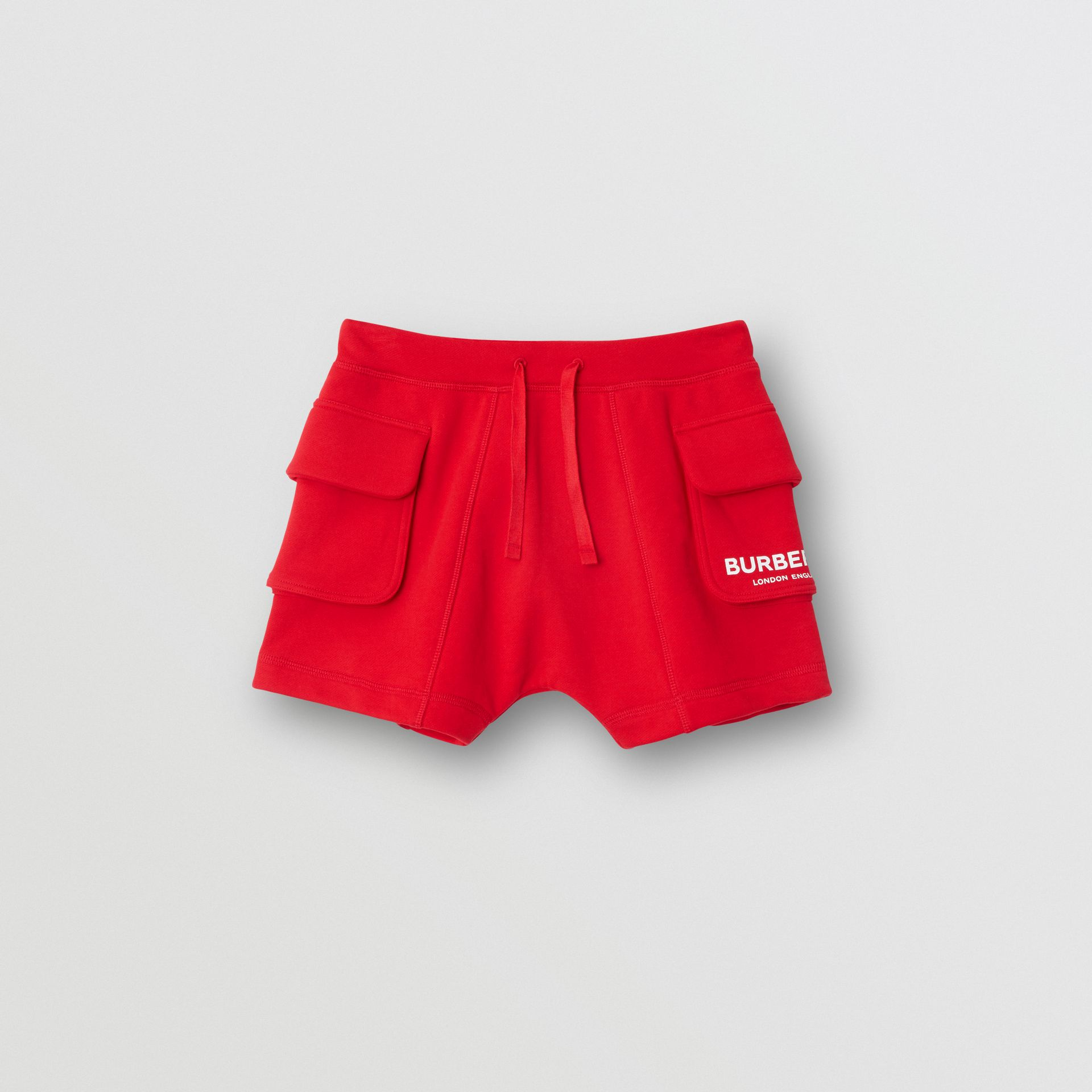 Logo Print Cotton Drawcord Shorts in Bright Red | Burberry United Kingdom - gallery image 0