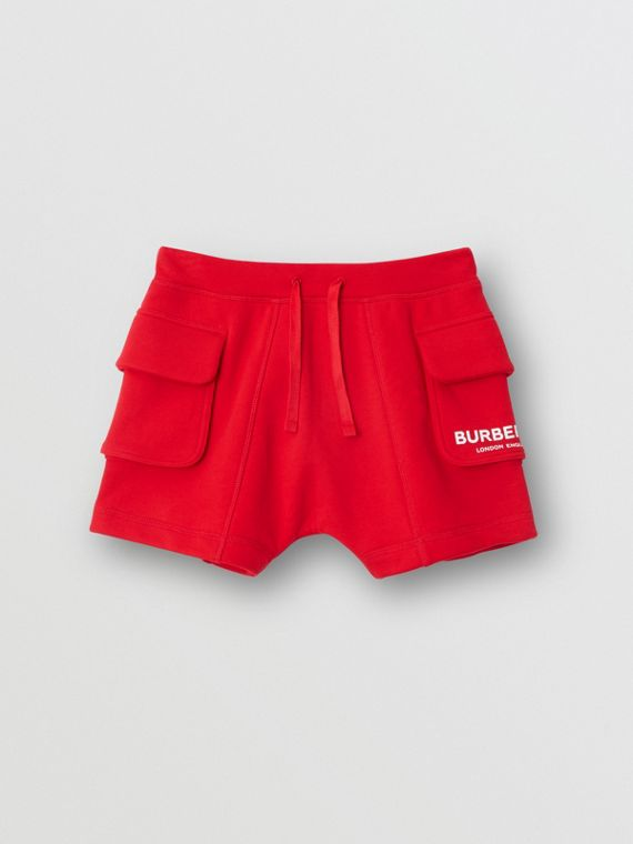 徽標印花棉質抽繩細節短褲 (亮紅色)