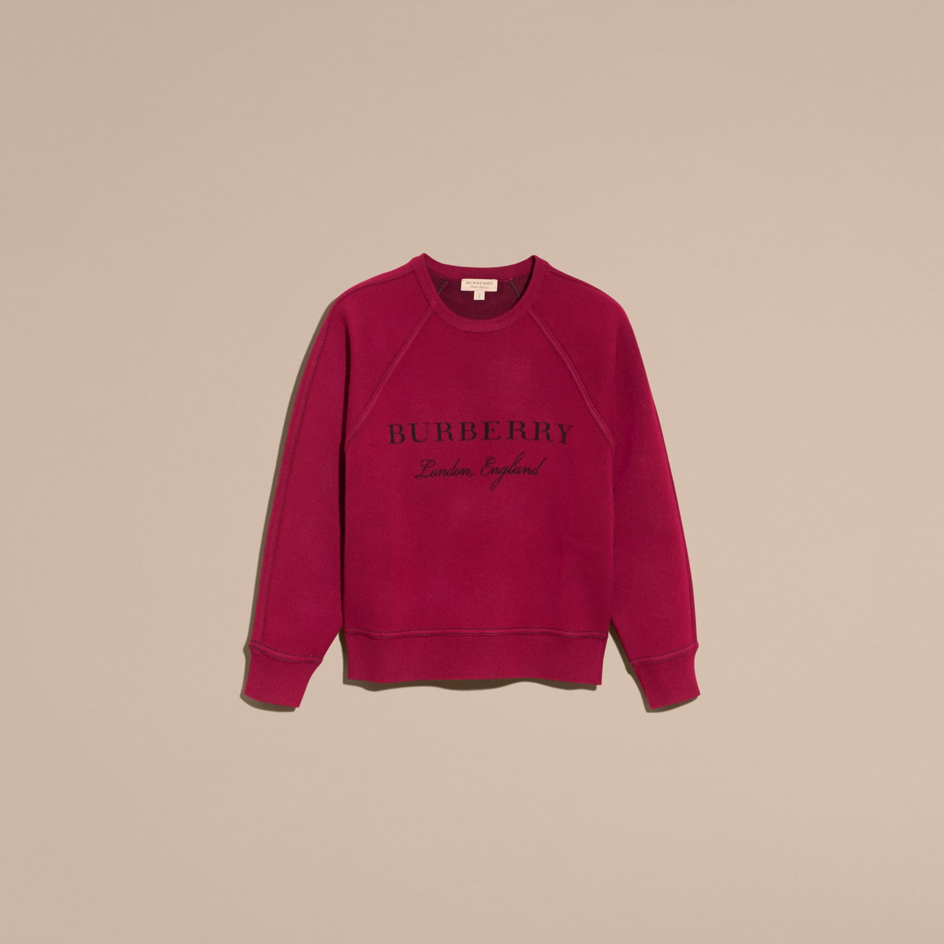 Topstitch Detail Wool Cashmere Blend Sweatshirt Burgundy - gallery image 4