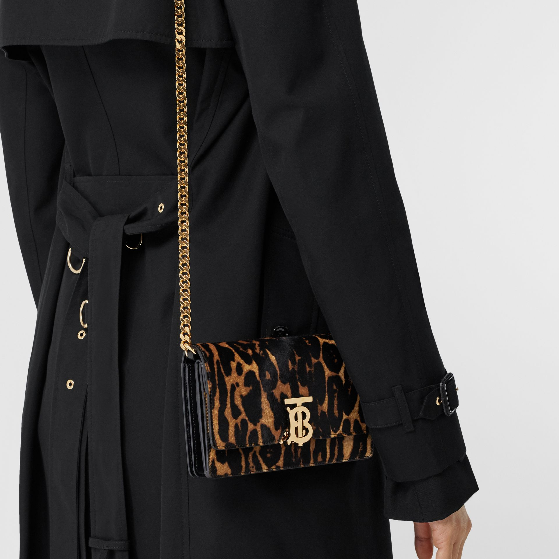 Small Leopard Print Calf Hair Shoulder Bag in Dark Mustard - Women | Burberry United Kingdom - gallery image 2