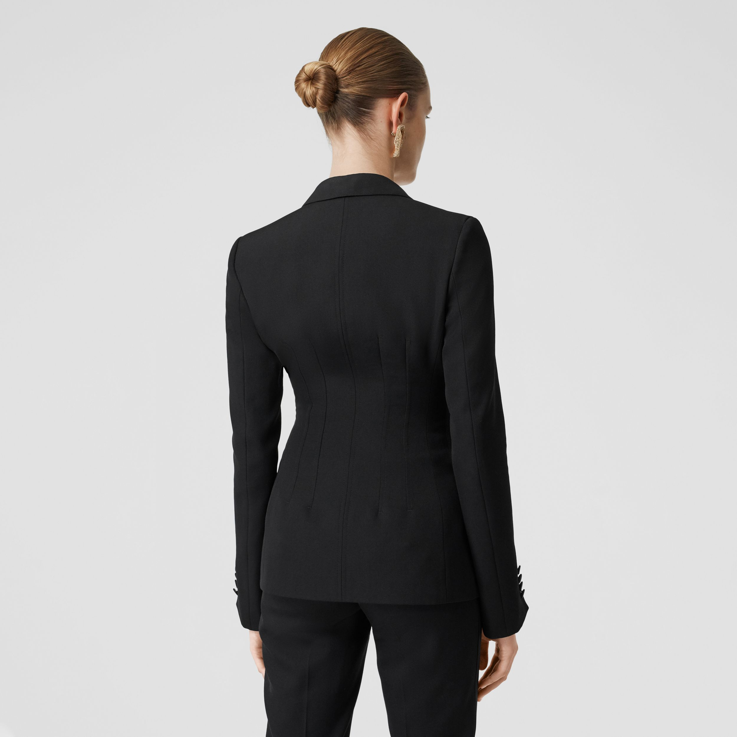Silk Trim Wool Tailored Jacket in Black - Women | Burberry Canada - 3