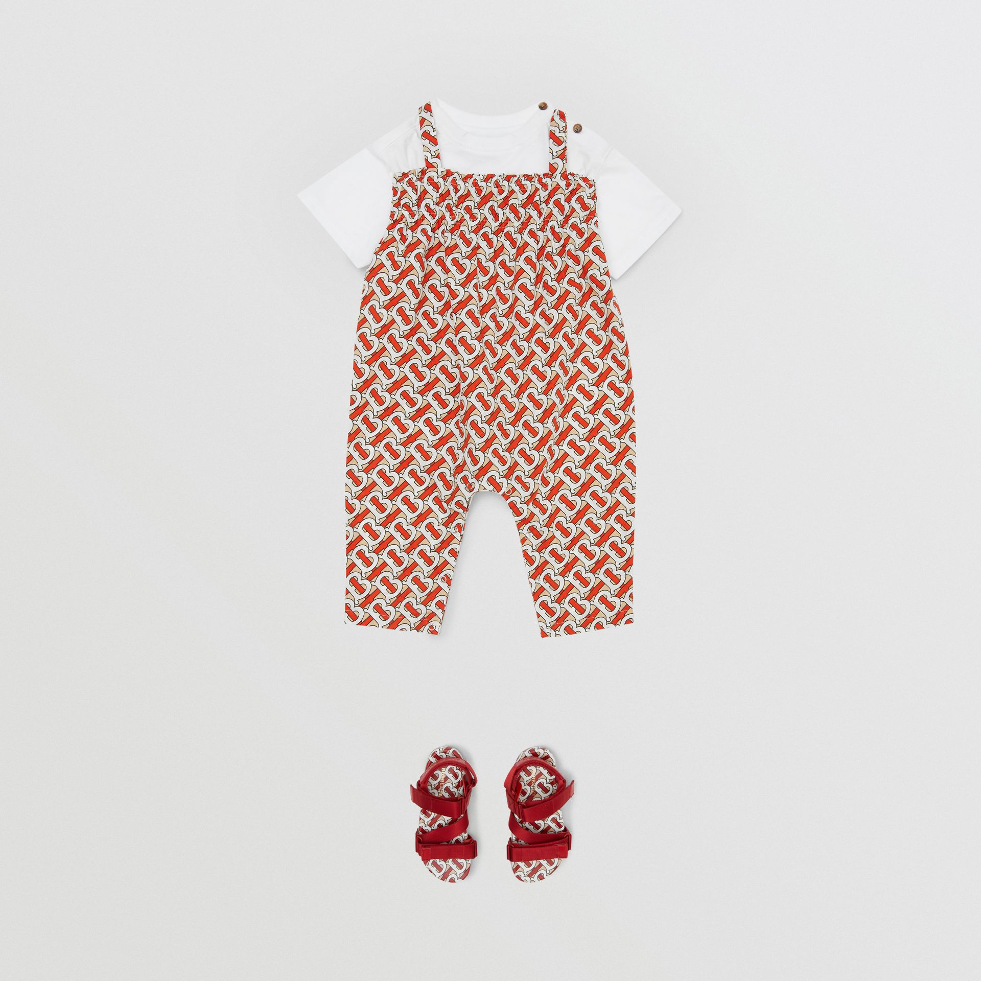 Smocked Monogram Print Cotton Poplin Jumpsuit in Vermilion Red - Children | Burberry - gallery image 2