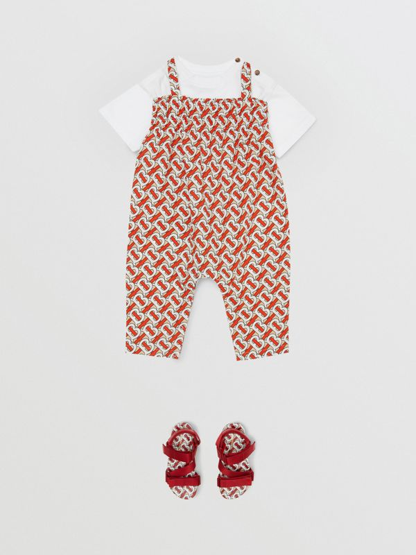 Smocked Monogram Print Cotton Poplin Jumpsuit in Vermilion Red - Children | Burberry - cell image 2
