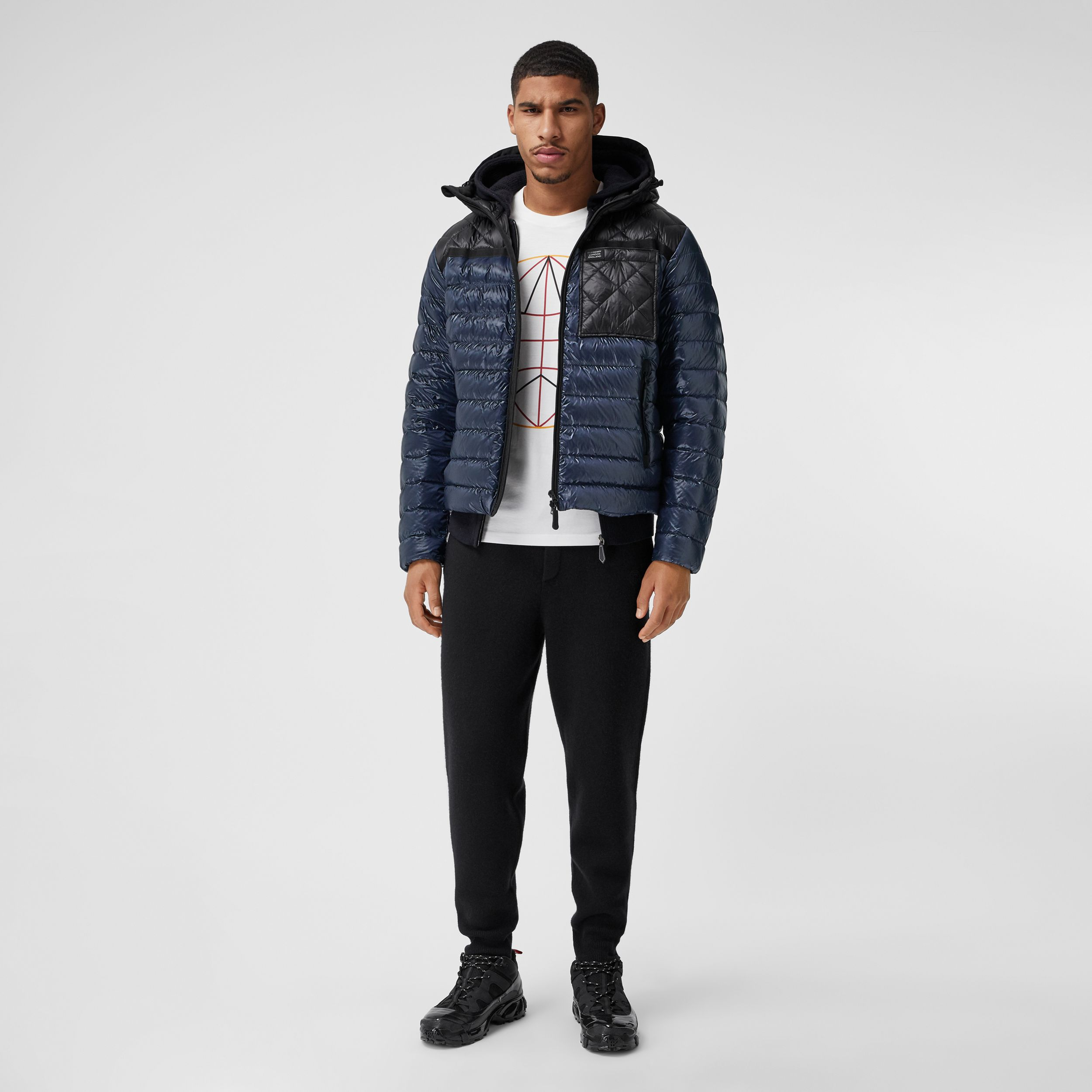 Diamond Quilted Panel Hooded Puffer Jacket in Midnight - Men | Burberry - 1