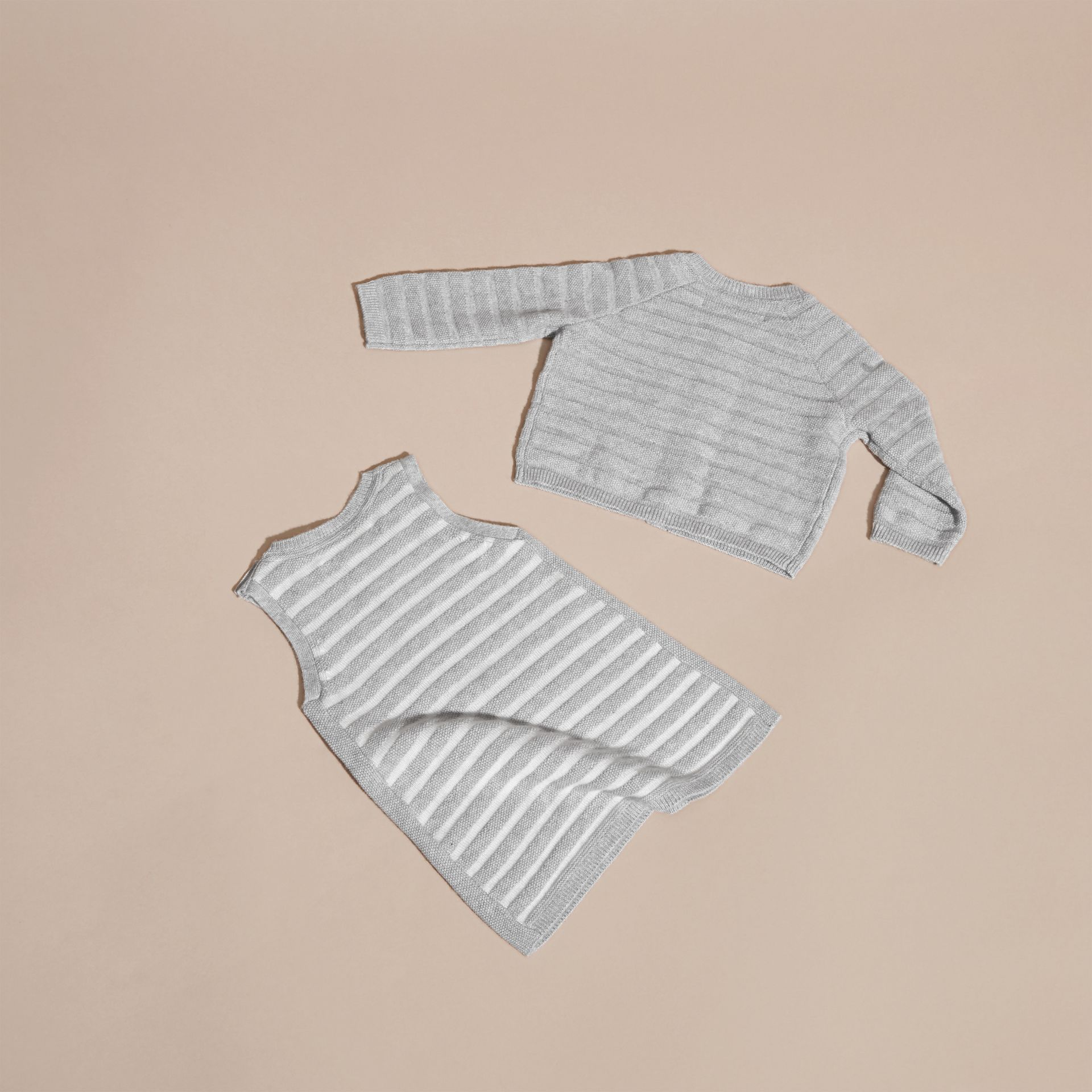 Light grey melange Striped Cashmere Cotton Two-piece Gift Set - gallery image 3