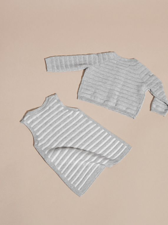 Light grey melange Striped Cashmere Cotton Two-piece Gift Set - cell image 2