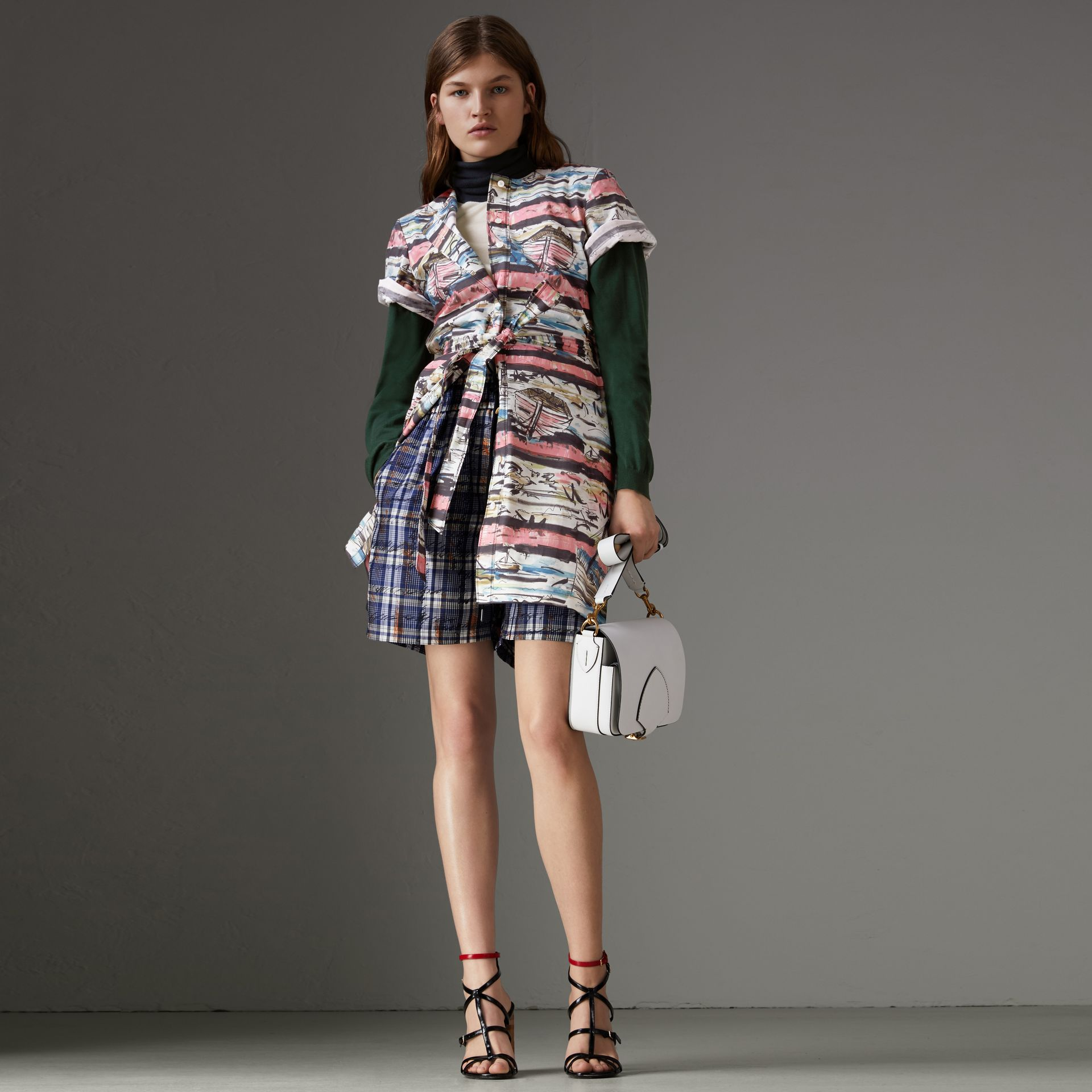Short-sleeve Coastal Print Cotton Shirt Dress in Rose Pink - Women | Burberry Singapore - gallery image 4