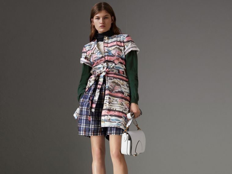 Short-sleeve Coastal Print Cotton Shirt Dress in Rose Pink - Women | Burberry Singapore - cell image 4