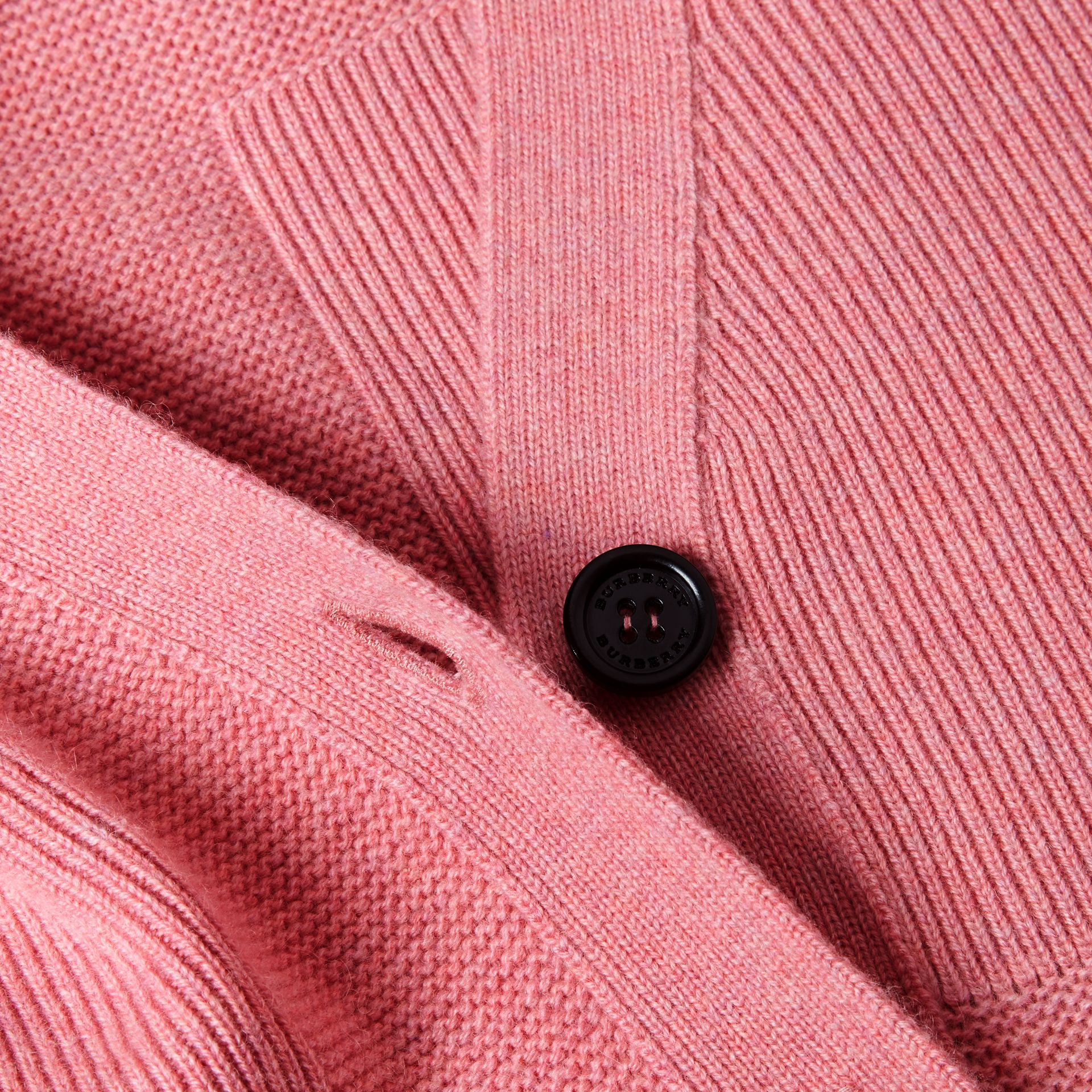 Check-knit Wool Cashmere Cardigan in Hydrangea Pink Melange - gallery image 2