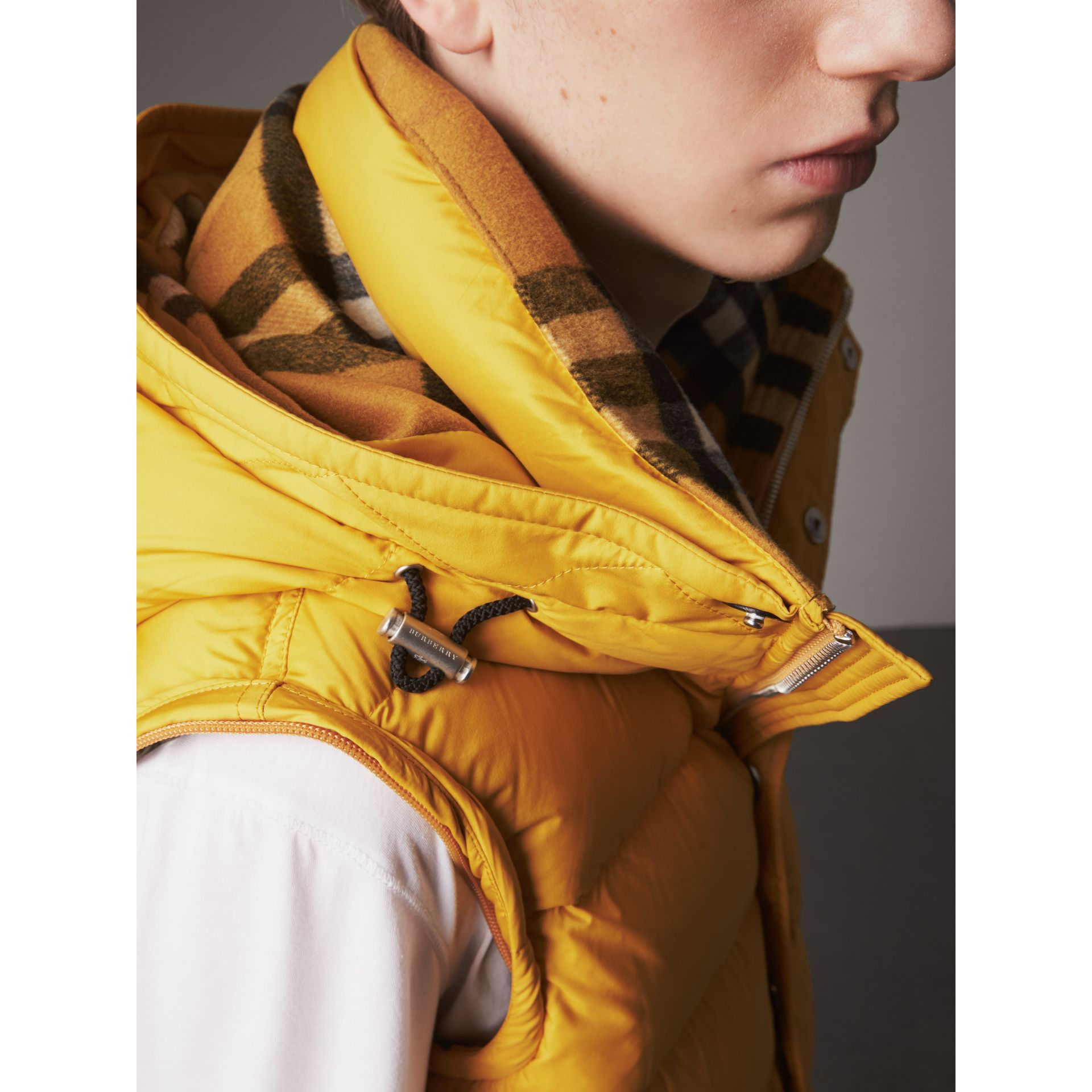 Detachable-sleeve Down-filled Puffer Jacket in Amber Yellow - Men | Burberry - gallery image 4