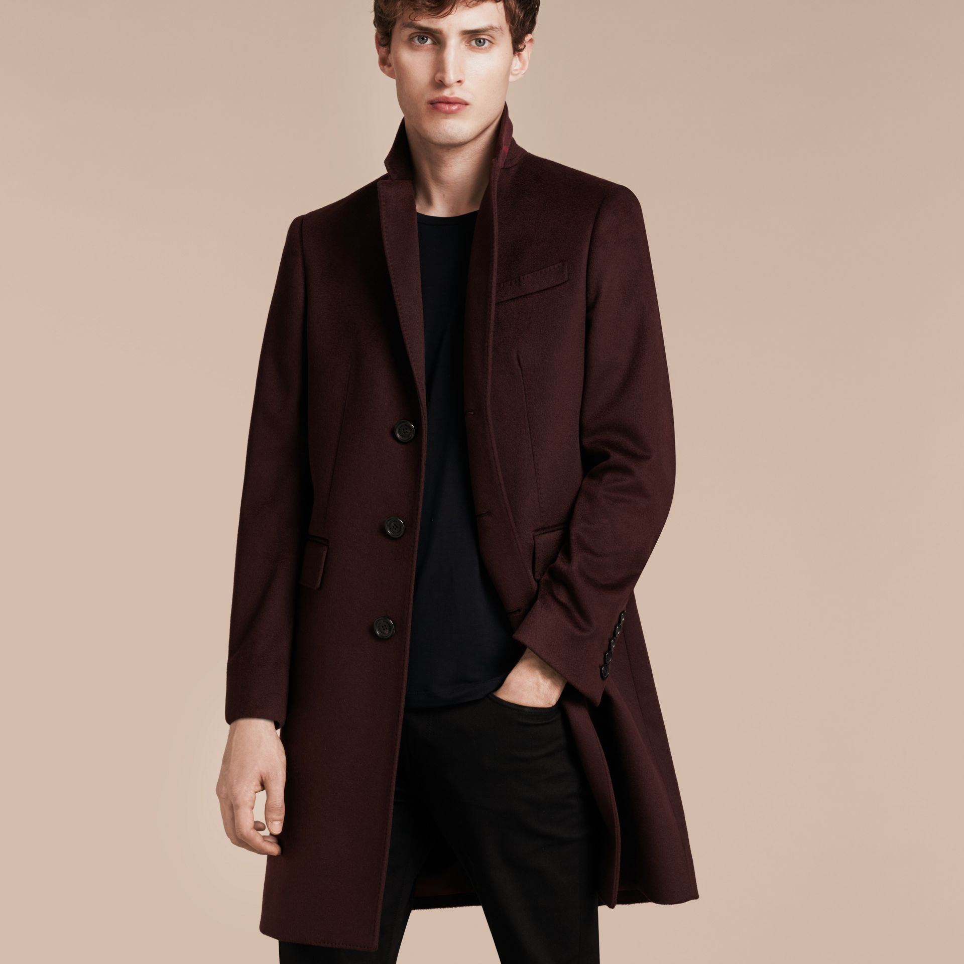Plum Cashmere Overcoat - gallery image 7