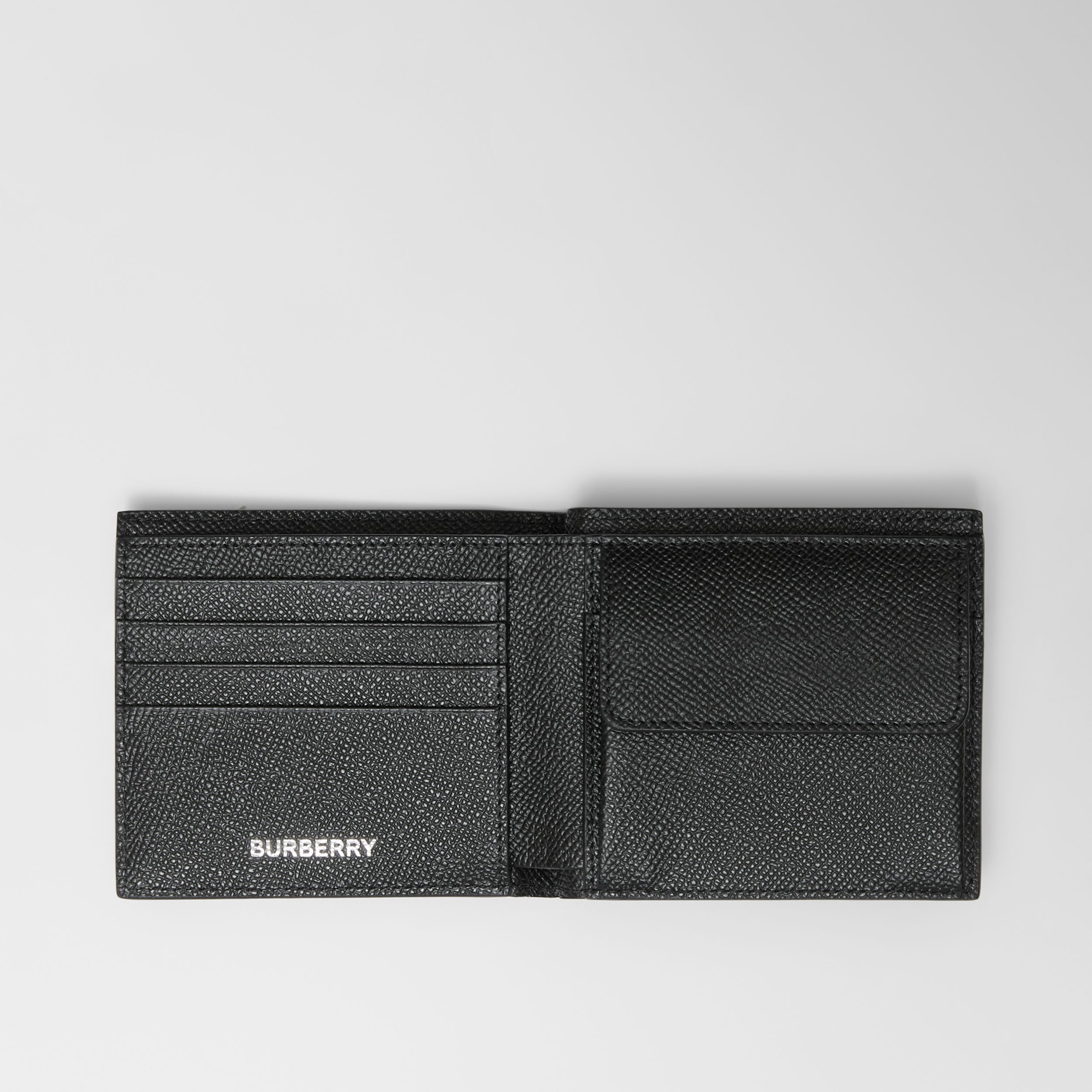 Icon Stripe Leather International Bifold Coin Wallet in Black - Men | Burberry - 4