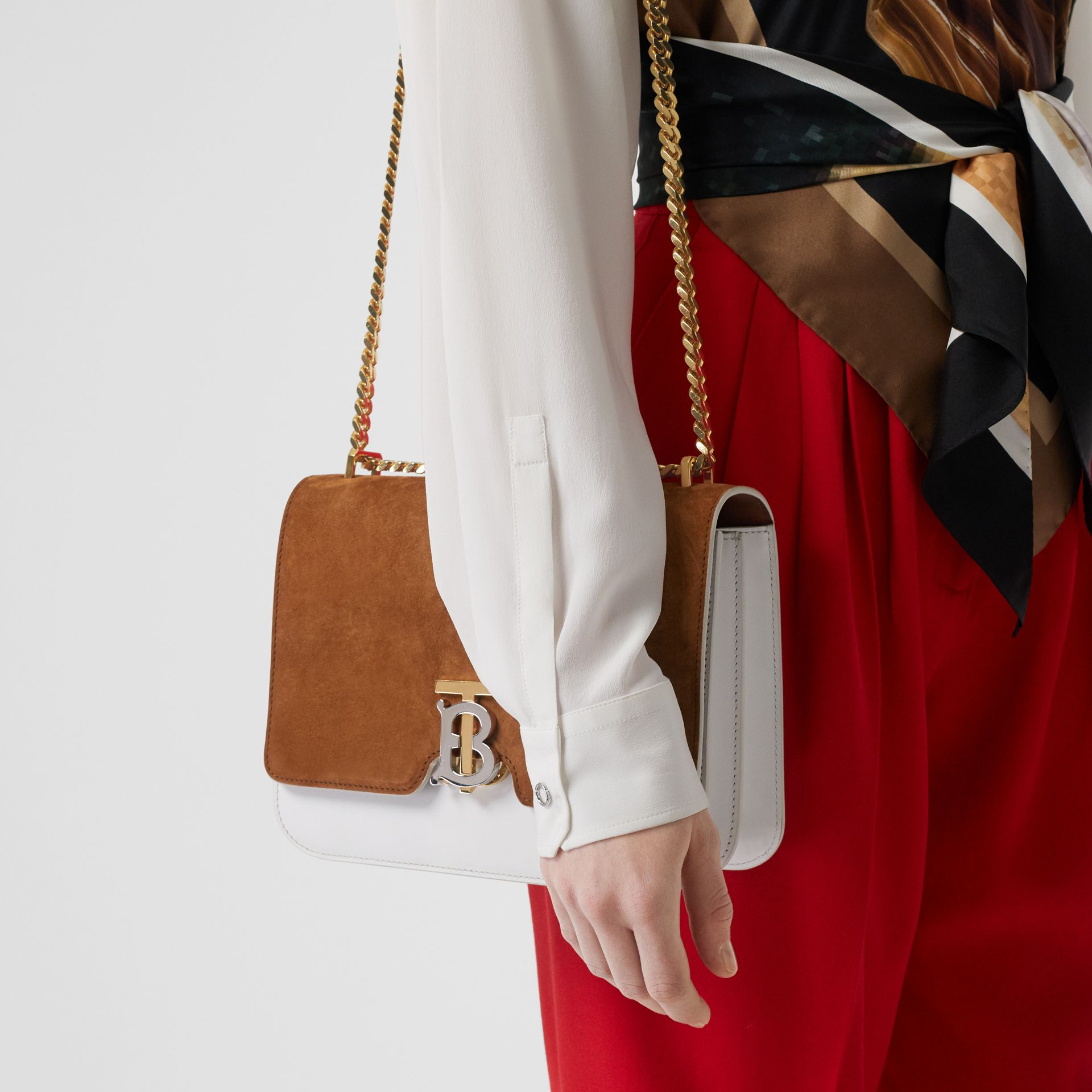 Medium Two-tone Leather and Suede TB Bag in White/brown - Women | Burberry - gallery image 2
