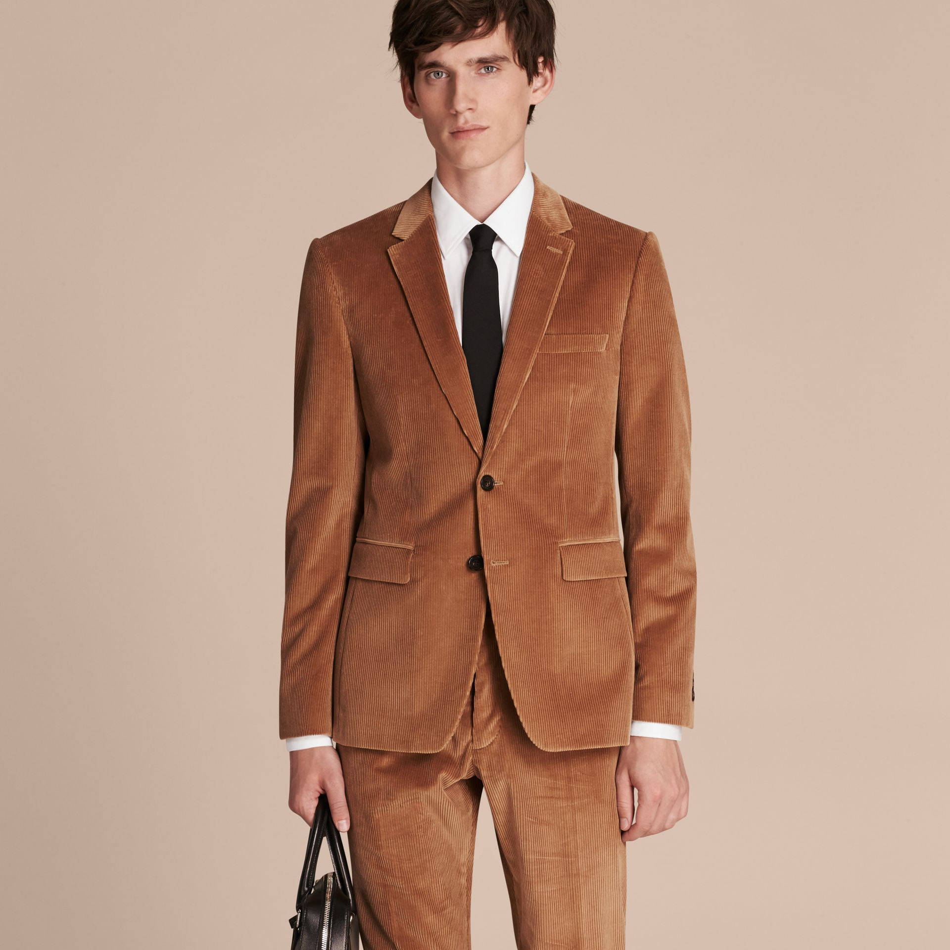 Camel Slim Fit Cotton Corduroy Jacket Camel - gallery image 7