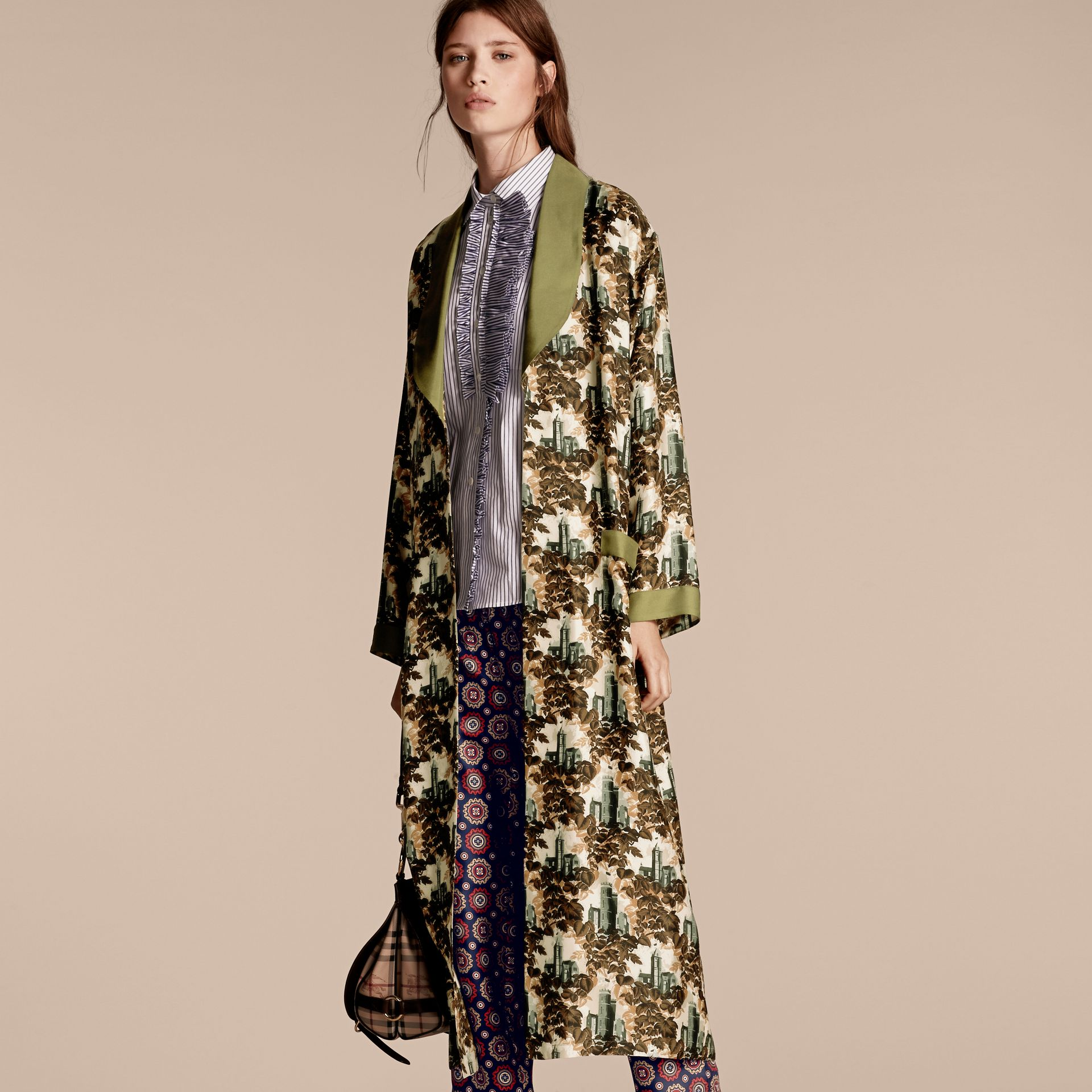Olive green Castle Print Silk Twill Dressing Gown Coat - gallery image 6
