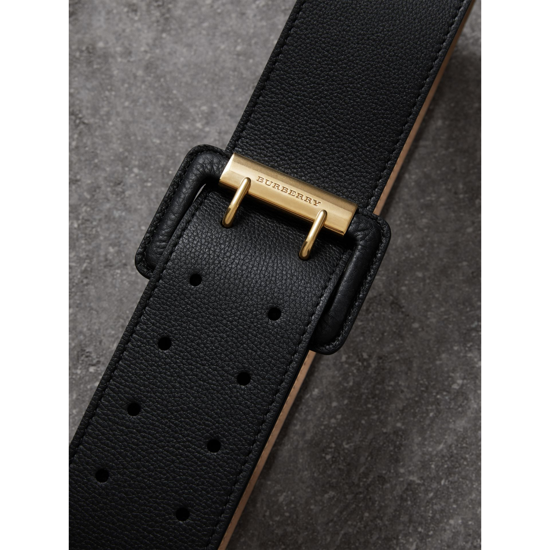 Double Pin Buckle Leather Belt in Black - Women | Burberry Australia - gallery image 1