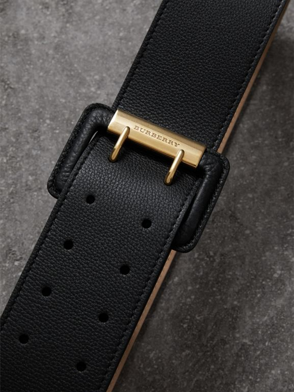Double Pin Buckle Leather Belt in Black - Women | Burberry - cell image 1