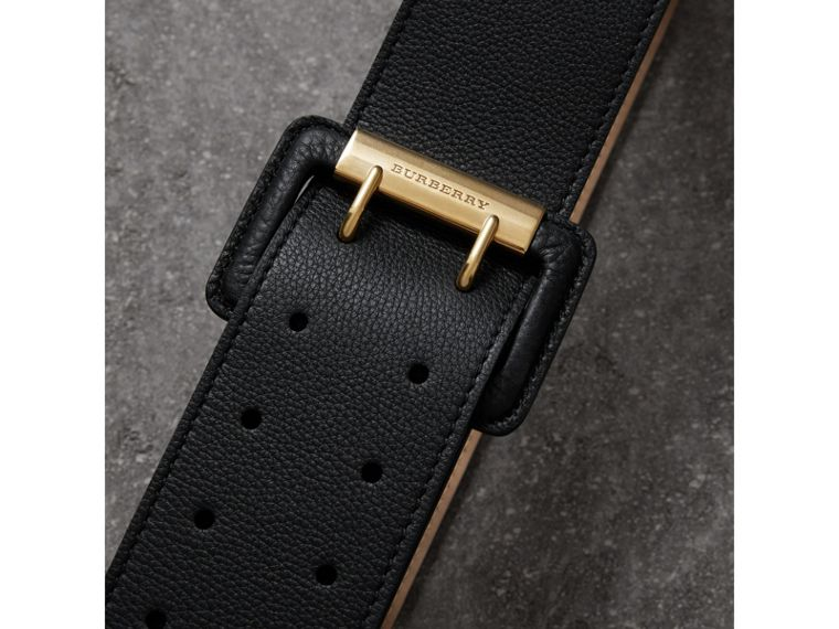 Double Pin Buckle Leather Belt in Black - Women | Burberry Singapore - cell image 1