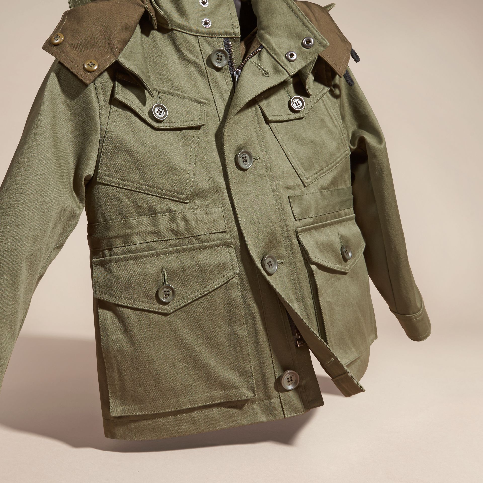 Olive Cotton Field Jacket with Check Warmer - gallery image 3