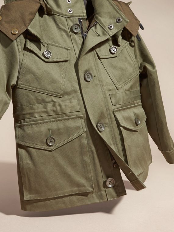 Olive Cotton Field Jacket with Check Warmer - cell image 2