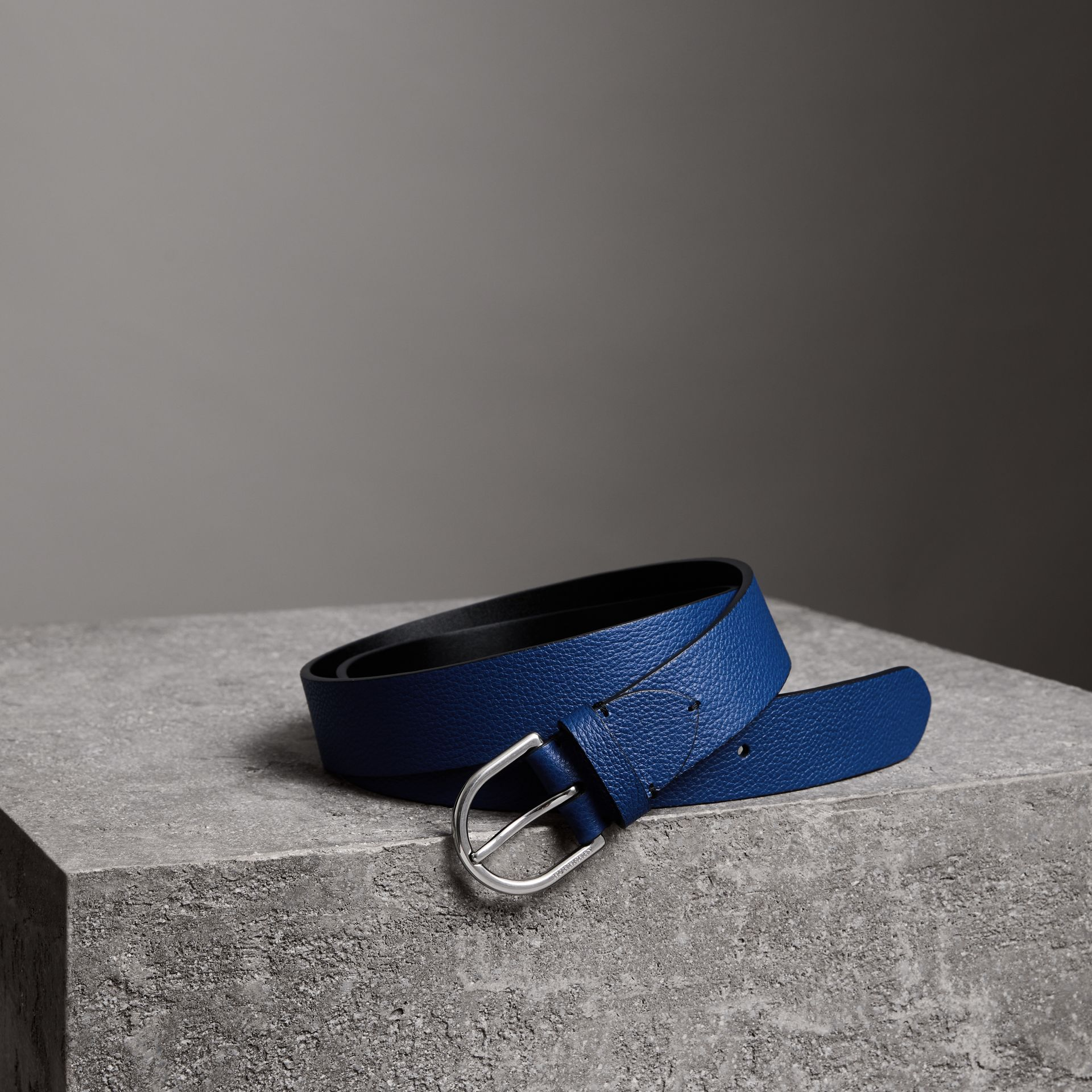 D-shaped Buckle Grainy Leather Belt in Bright Ultramarine - Men | Burberry - gallery image 0