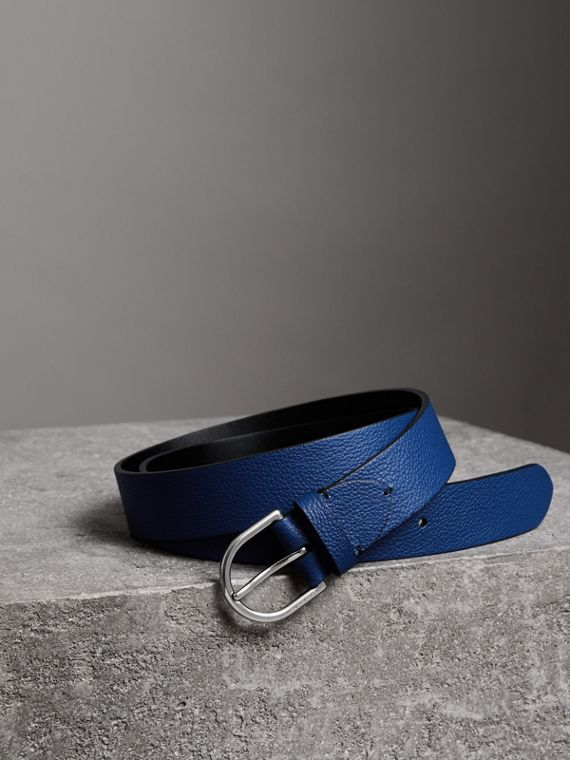 D-shaped Buckle Grainy Leather Belt in Bright Ultramarine