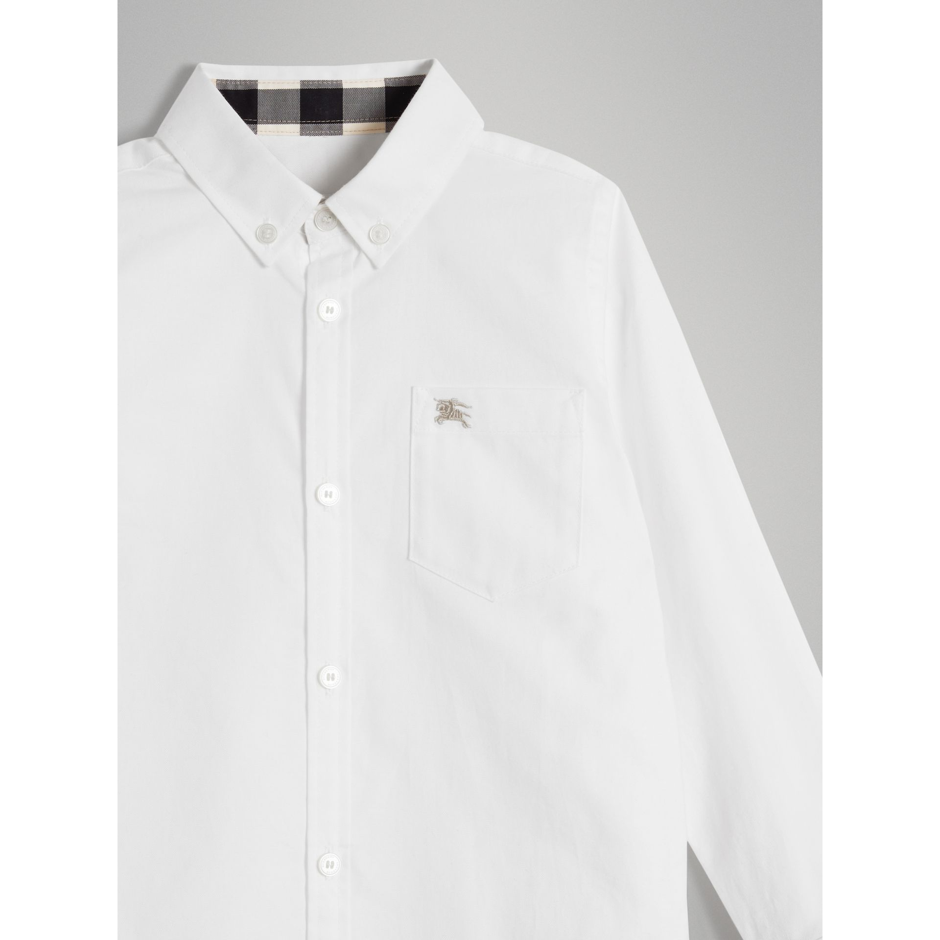 Cotton Button-down Collar Shirt in White - Boy | Burberry - gallery image 4