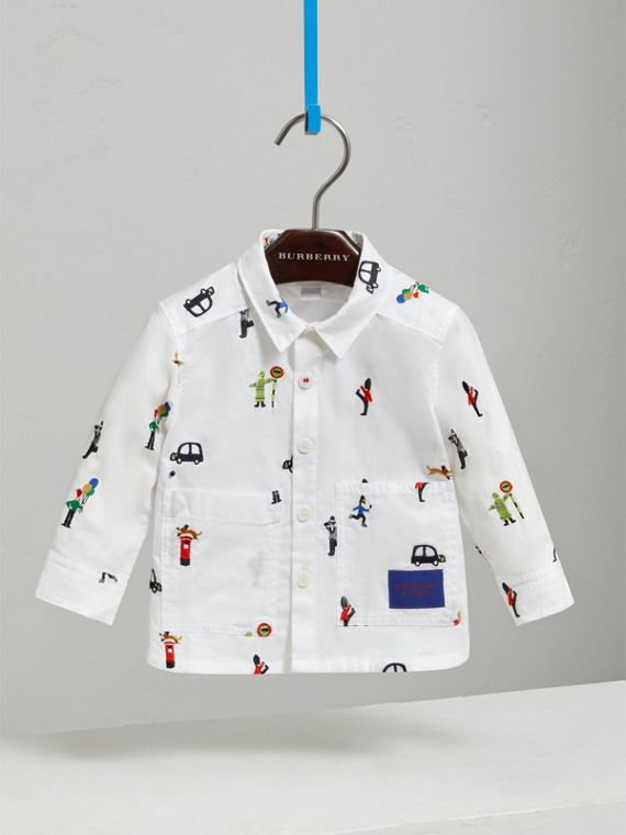 London People Embroidered Cotton Shirt in White | Burberry - cell image 2