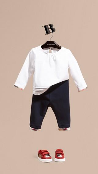 Legging en coton avec détails à motif check