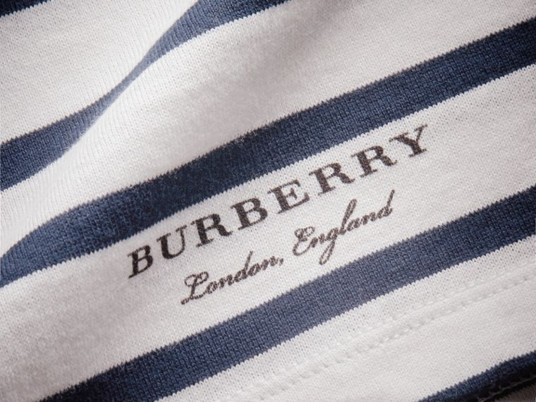 Breton Stripe Cotton T-shirt in Navy/white - Women | Burberry - cell image 1