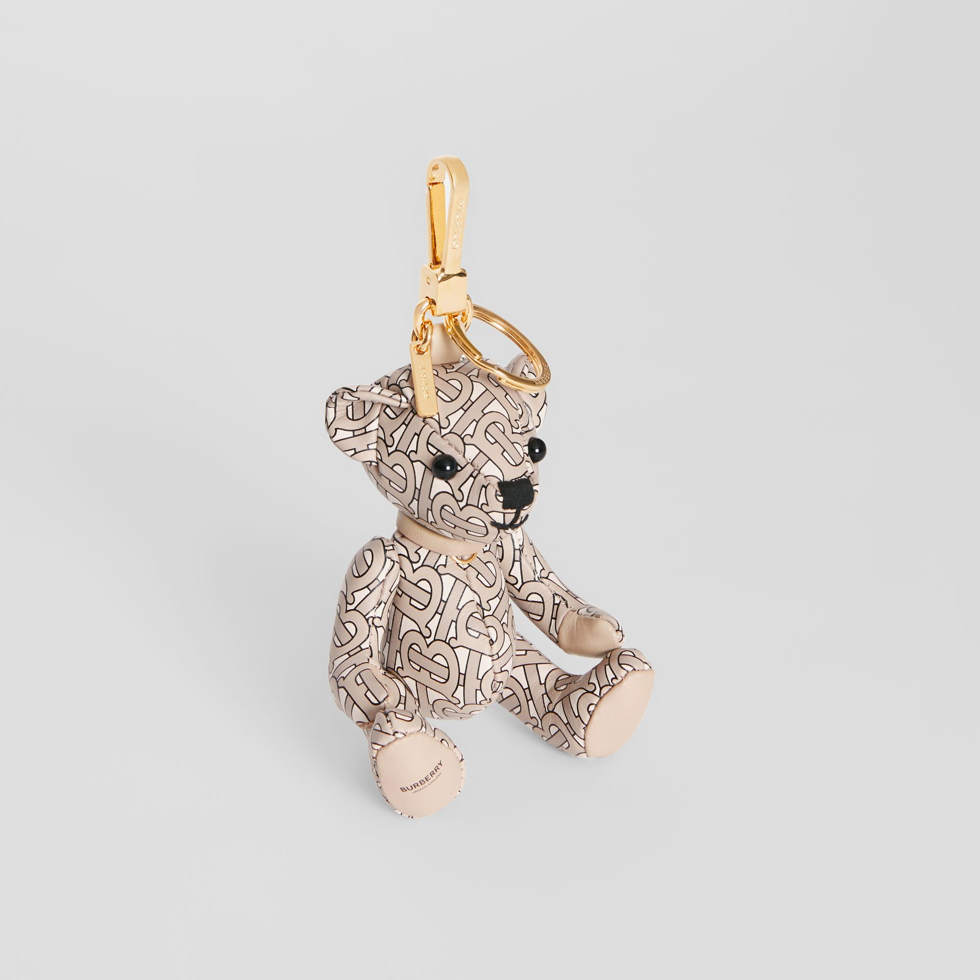 Thomas Bear Charm in Monogram Print Leather in Beige | Burberry United States - gallery image 0